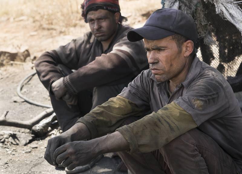 Mineros marroquíes esperando