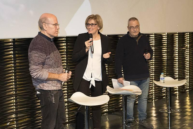 David Herranz y Fernando Sanjuán, directores del documental, y Ana Peláez, directora de Imprescindibles