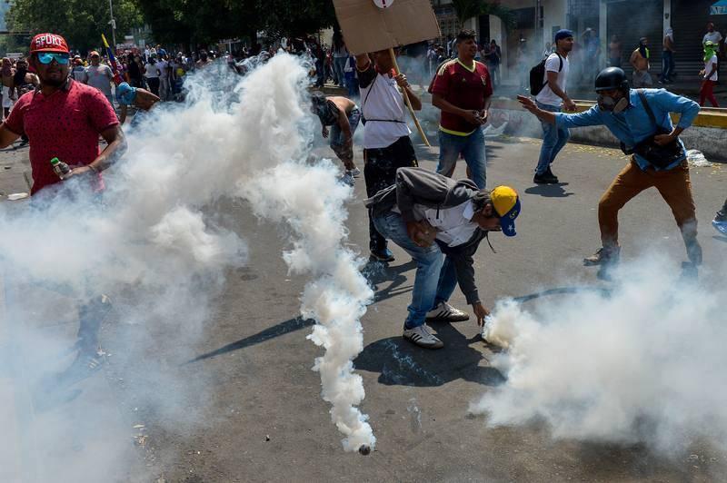 Incidentes en San Antonio de Tachira, localidad junto al puente fronterizo de Simón Bolívar