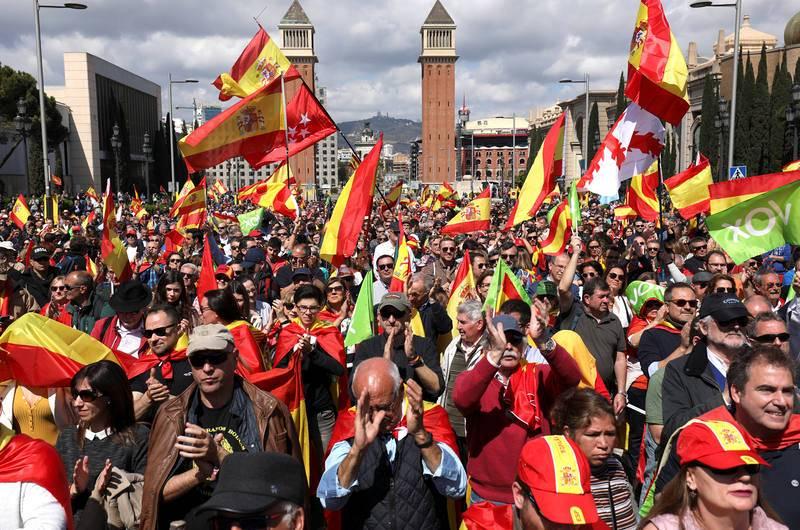 Multitudinario acto organizado por Vox en la plaza de España en Barcelona