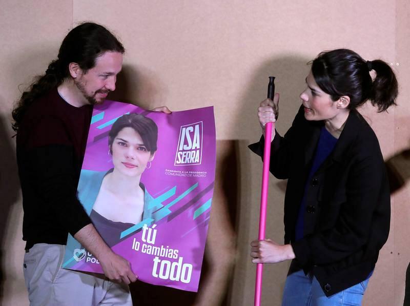 Iglesias abre la campaña junto a la candidata por Madrid, Isabel Serra