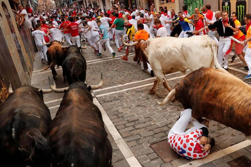 Uno de los mozos se protege en el suelo al paso de los toros de La Palmosillana