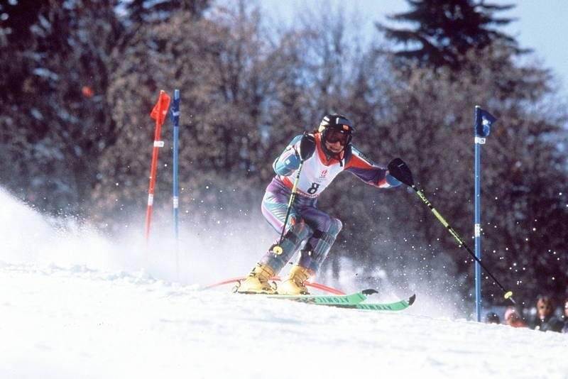 Blanca Fernández Ochoa, durante la prueba que el dio la medalla de bronce en los Juegos Olímpicos de Invierno de Albertville