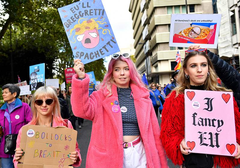 Manifestantes portan carteles a favor de la UE