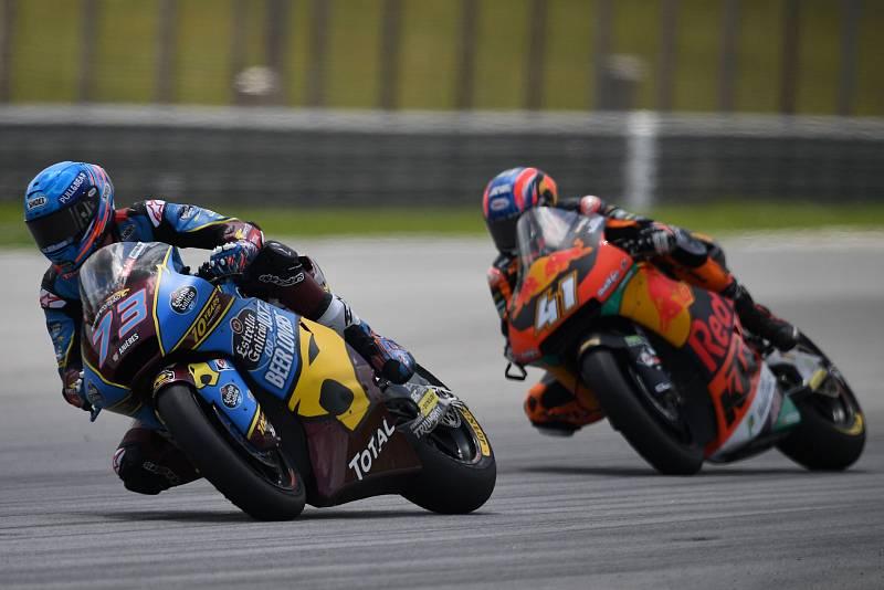 Imagen de la carrera de Moto2, con Márquez por delante de Binder.