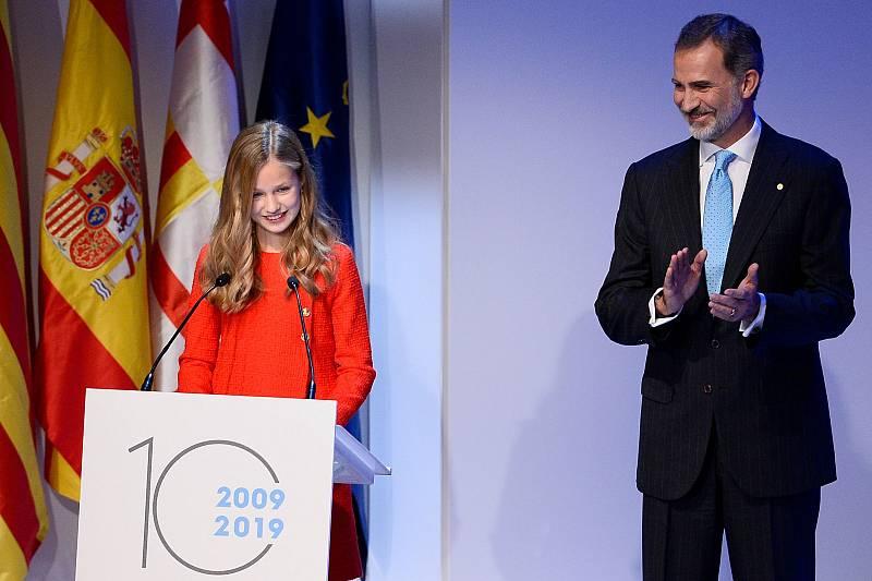 La Princesa Leonor durant el seu discurs a l'entrega de Premis Princesa de Girona