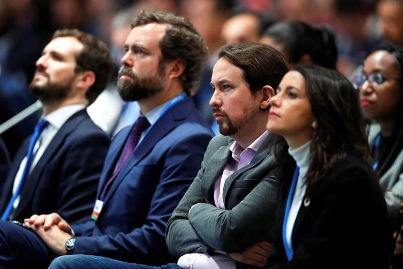 Pablo Casado (PP), Iván Espinosa de los Monteros (Vox), Pablo Iglesias (Podemos), e Inés Arrimadas (Ciudadanos), i-d., durante la ceremonia.