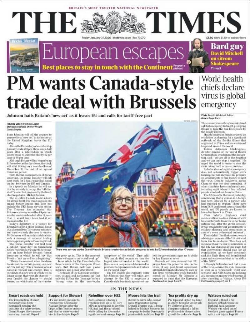 """El periódico británico The Times destaca en su portada el Brexit y asegura que el primer ministro de Reino Unido, Boris Johnson. quiere un tratado """"al estilo de Canadá"""" con Bruselas"""