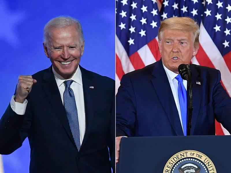 Montaje de fotografías de los discursos que los candidatos a Presidente de EE.UU., Joe Biden y Donald Trump, han ofrecido esta noche, tras conocerse los primeros datos electorales que todavía no son definitivos.