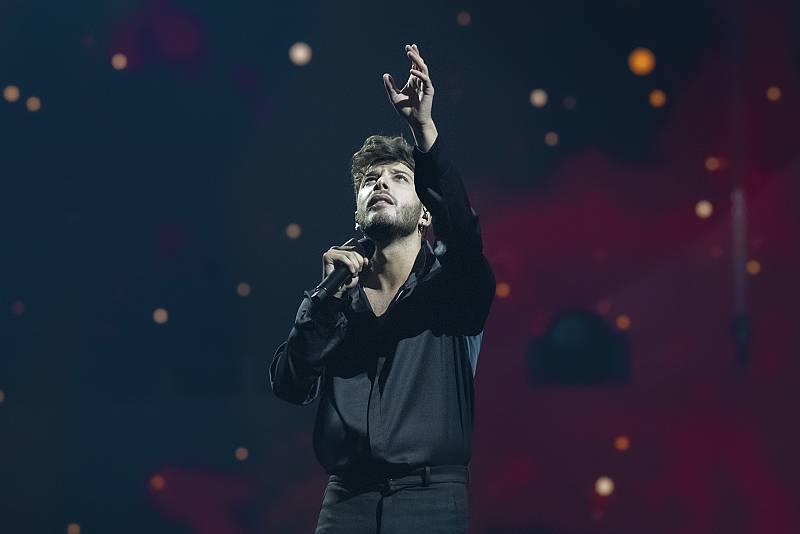 Blas Cantó durante su segundo ensayo en el Arena