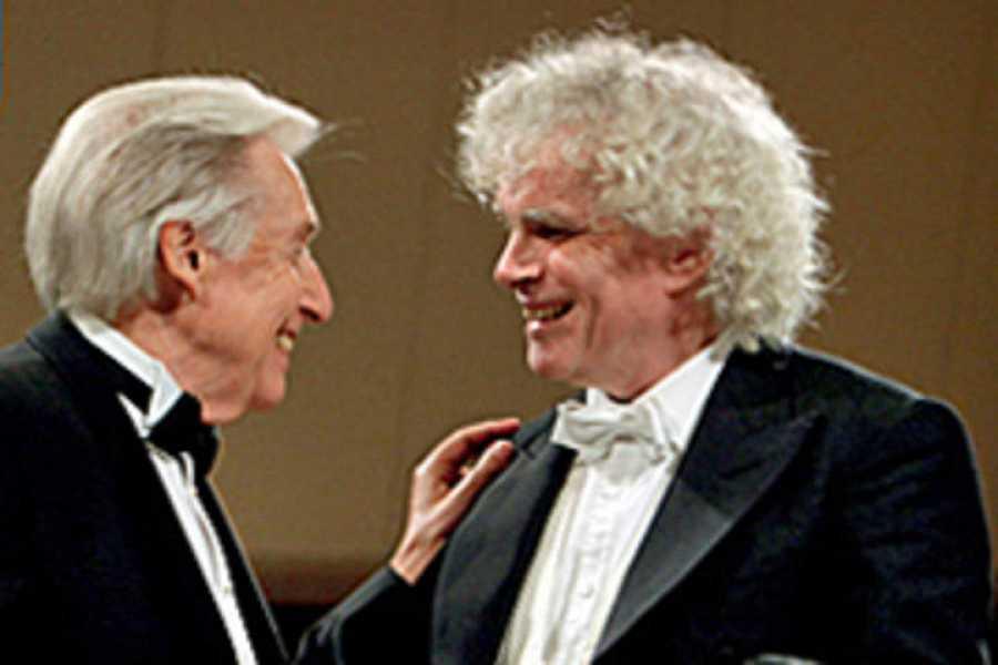 El pianista Joaquín Achúcarro y el director Simon Rattle se reúnen para grabar Noches en los Jardines de España, de Falla, junto a la Orquesta Filarmónica de Berlín.
