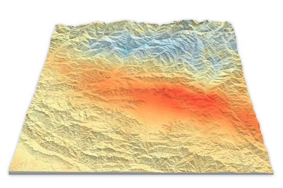 Mapa con gradientes de color que muestran el desplazamiento del suelo tras el terremoto de Nepal el pasado 25 de abril.