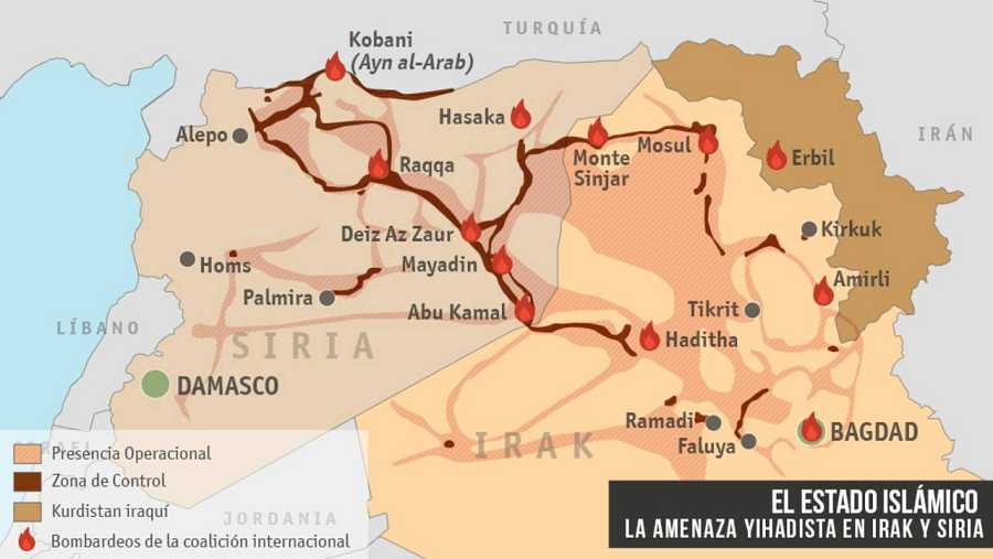 Mapa de las zonas de control e influencia del Estado Islámico en Irak y Siria. Elaboración: RTVE.es