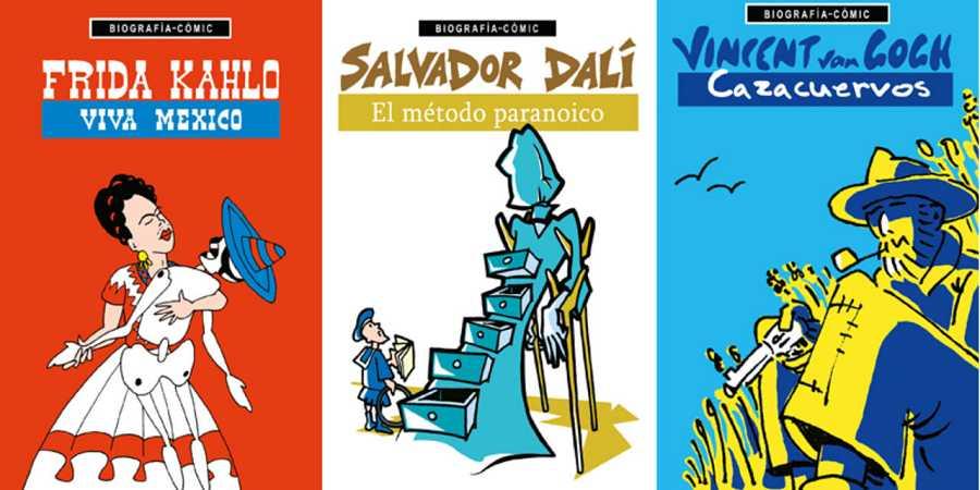 Portadas de 'Frida Kahlo. Viva Mexico',  'Salvador Dalí. El método paranóico, y 'Vincent van Gogh. Cazacuervos'