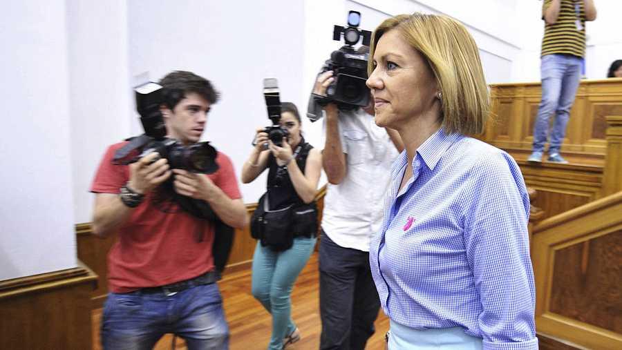 María Doleres de Cospedal, en el debate de investidura de García-Page