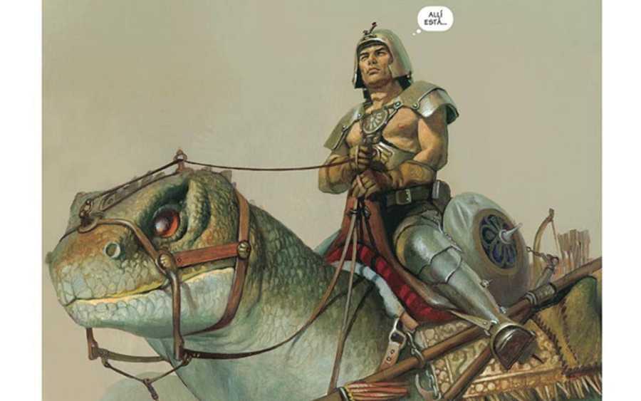 El primer dragón de El Mercenario, basado en el lagarto Tuátera