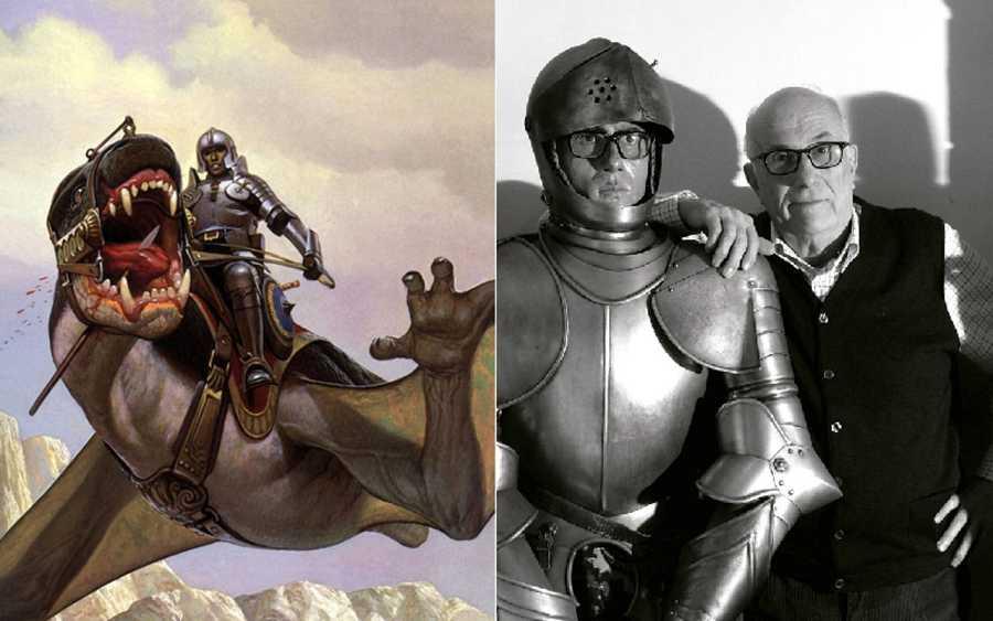 Vicente Segrelles y una de las ilustraciones más conocidas de 'El Mercenario'