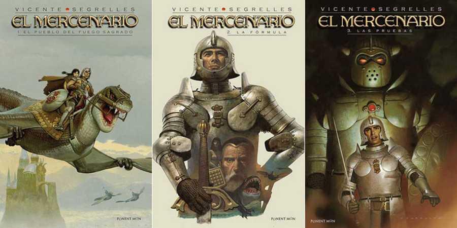 Portadas de los tres primeros ábumes de 'El Mercenario'