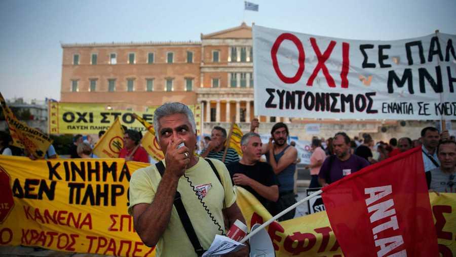 Manifestación en contra de las medidas de austeridad en la plaza Syntagma