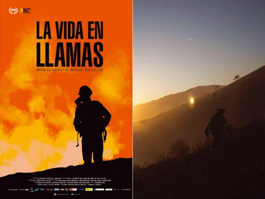 Cartel y fotograma de 'La vida en llamas'