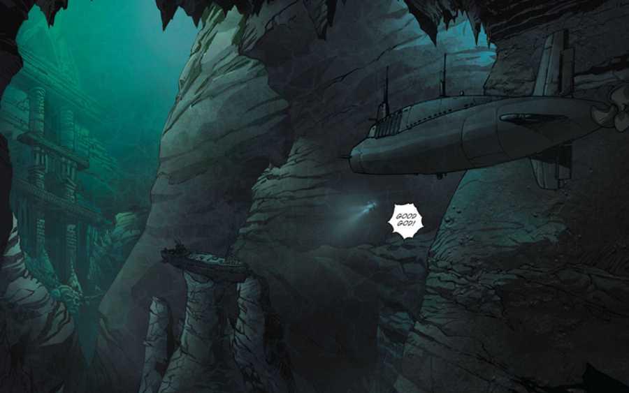 El submarino encuentra otro submarino hundido en las puertas de un misterioso santuario