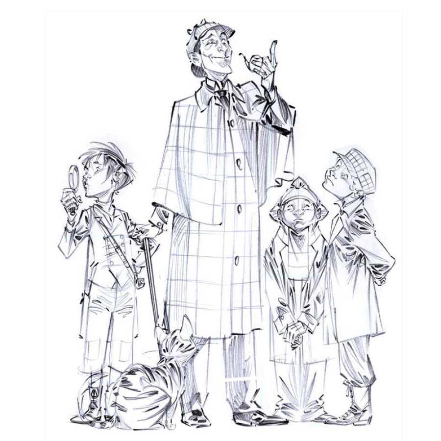Boceto de 'Los Cuatro de Baker Street'