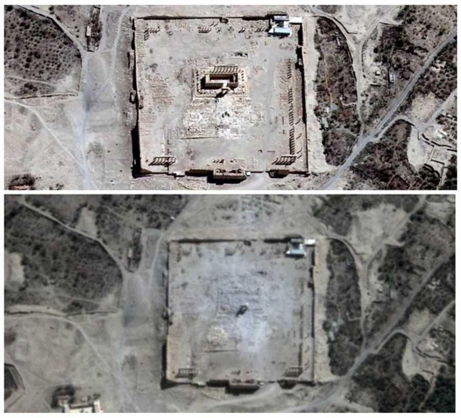 Combinación de imágenes que muestran el Templo de Bel en Palmira antes (arriba, 27 de agosto) y después (abajo, 31 de agosto) de ser destruido por el Estado Islámico