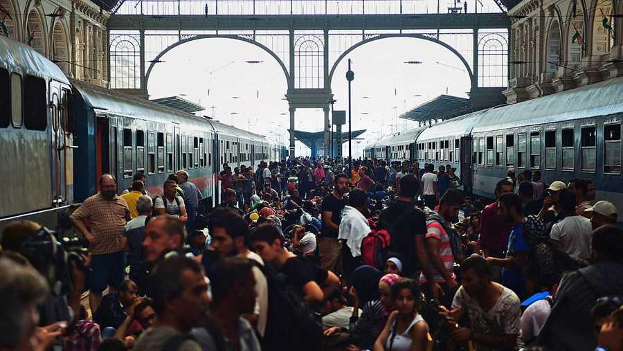 Refugiados en la estación de Keleti, en Budapest (Hungría), el 1 de septiembre