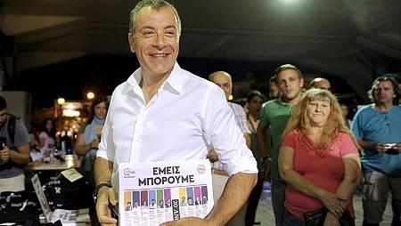 El líder del partido To Potami, el periodista Stavros Theodorakis, en un mitin en Atenas. REUTERS/Michalis Karagiannis