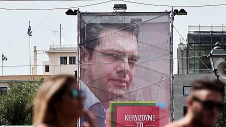 Cartel electoral de Alexis Tsipras, en Atenas AFP PHOTO/ LOUISA GOULIAMAKI