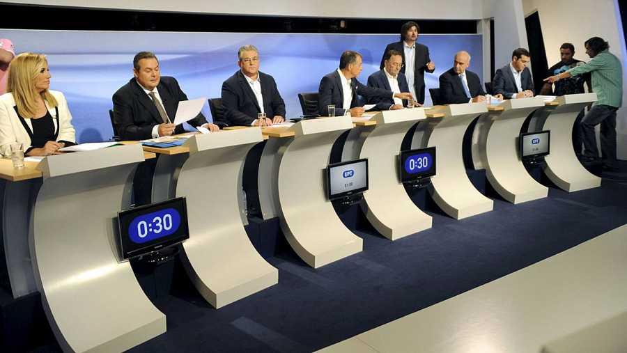Los líderes de los principales partidos que se presentan a las elecciones en Grecia, durante un debate televisivo. REUTERS/Michalis Karagianniste in Athens