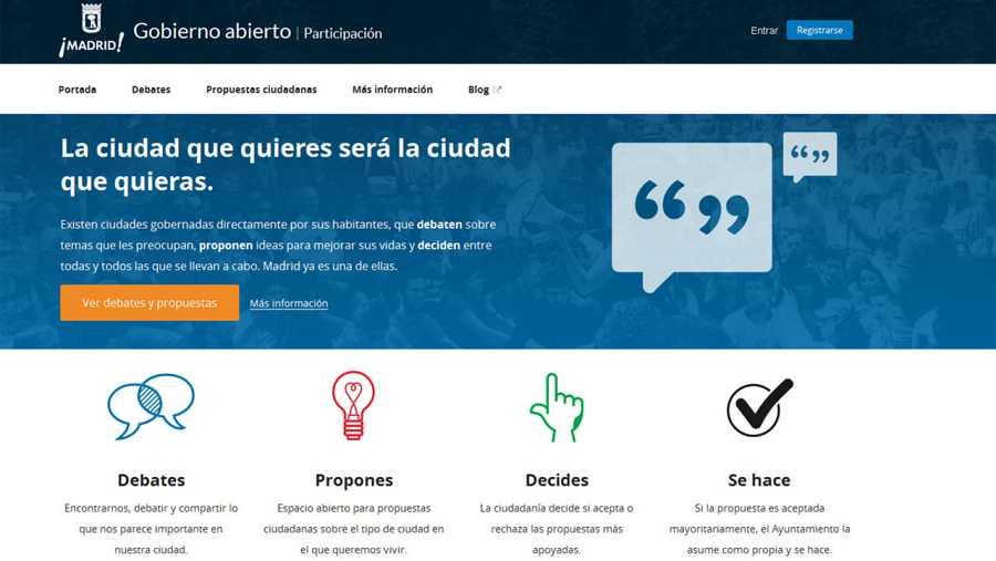 Portada del sitio web 'Decide Madrid', del Ayuntamiento de Madrid.