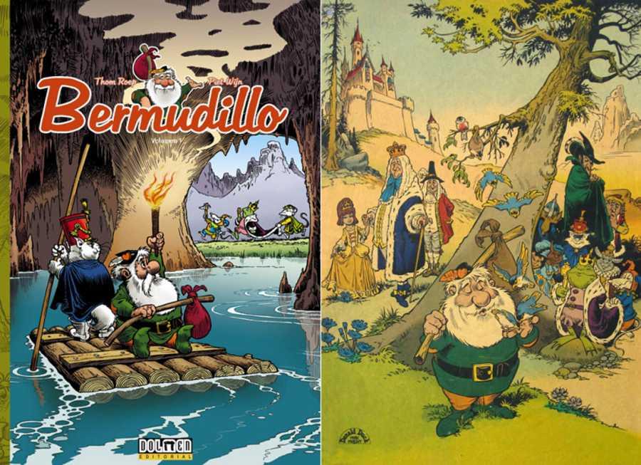 Portada de la edición de Dolmen y una ilustración de 'Bermudillo'