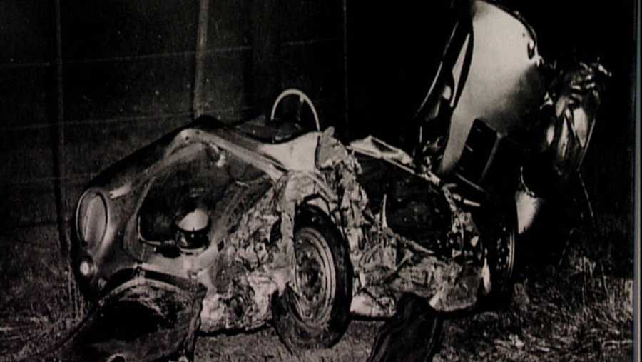 Estado del coche de James Dean tras el accidente mortal del actor