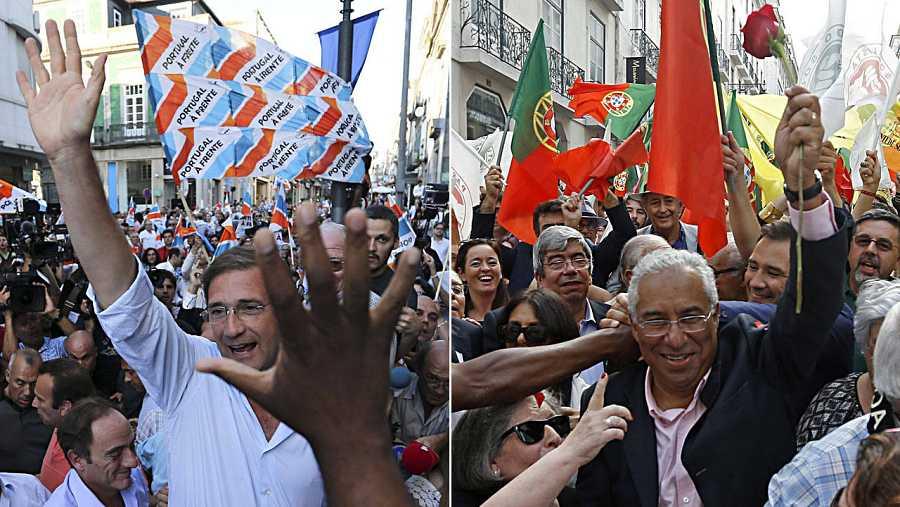 Los dos principales candidatos de las elecciones portuguesas, Pedro Passos Coelho y António Costa