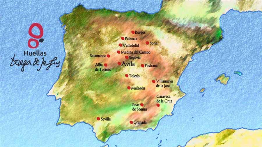 Mapa de los conventos fundados por Santa Teresa de Jesús