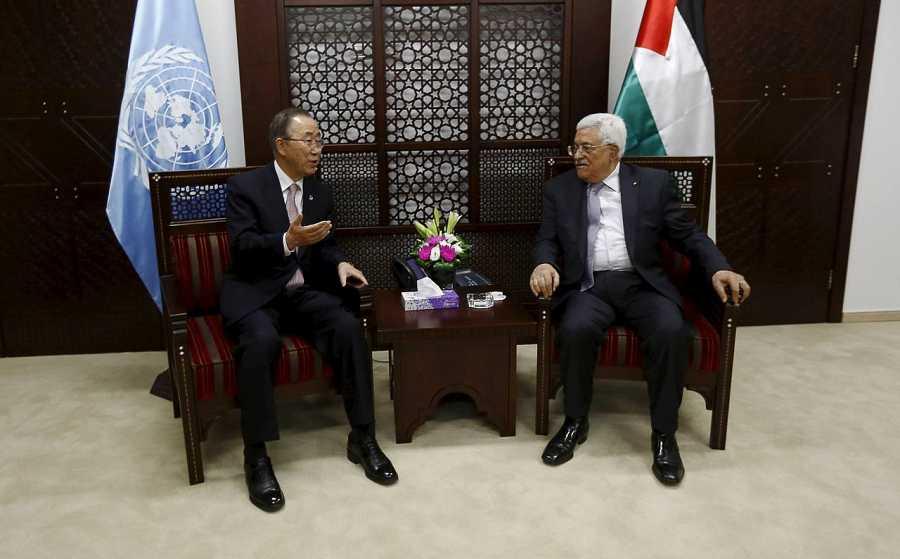 Reunión en Ramala entre el secretario general de la ONU, Ban Ki-moon, y el presidente palestino, Mahmud Abás