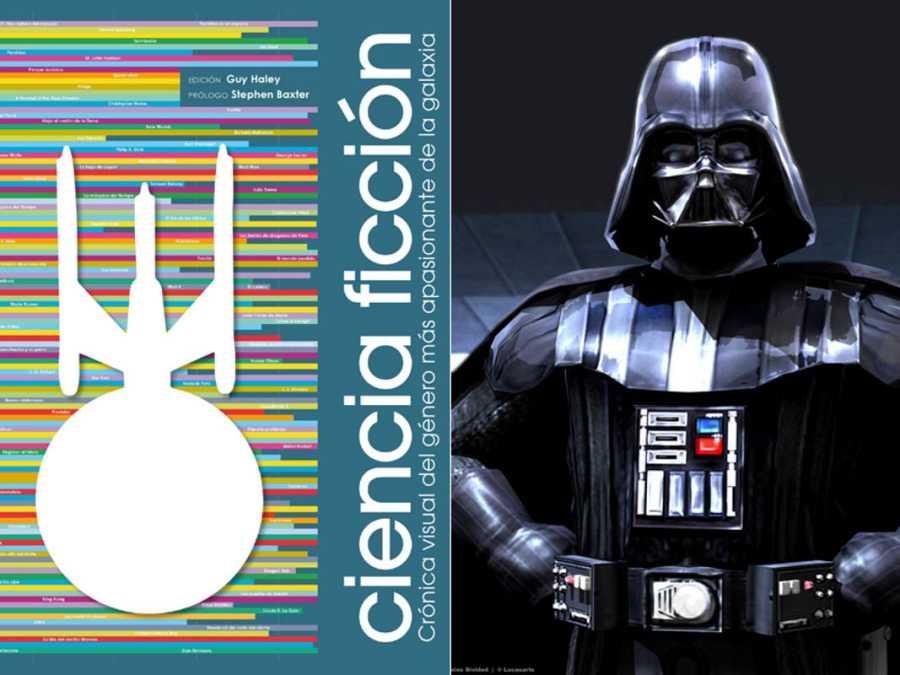 Portada del libro 'Ciencia ficción, crónica visual del género más apasionante de la galaxia' y una imágen icónica de Darth Vader