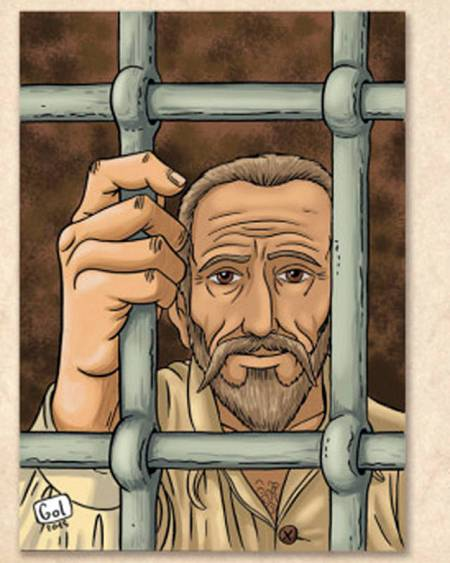 Cervantes en la cárcel, donde escribió 'El Quijote'