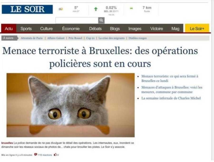 Captura de pantalla de la portada de 'Le Soir' durante la operación antiterrorista la pasada noche en Bruselas.