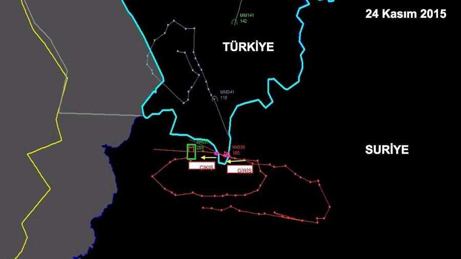 Imagen de radar, facilitada por Turquía, donde se muestra (en rojo) la trayectoria del avión ruso abatido por cazas turcos. Según esta imagen, el avión habría traspasado la frontera turca, algo que Moscú niega. REUTERS/Ministerio turco de Interior