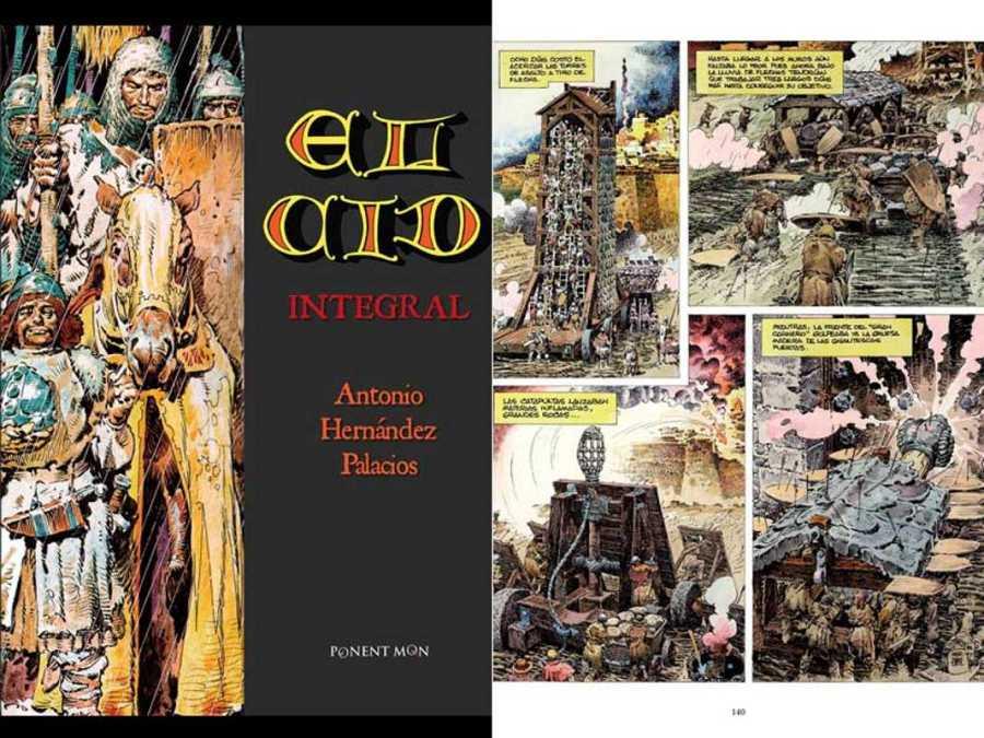 Portada y página de 'El Cid', de Antonio Hernández Palacios