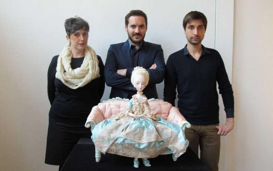 Cécile Berly, Benjamin Lacombe y Sébastien Perez en la exposición  'María Antonieta. Diario de una reina'