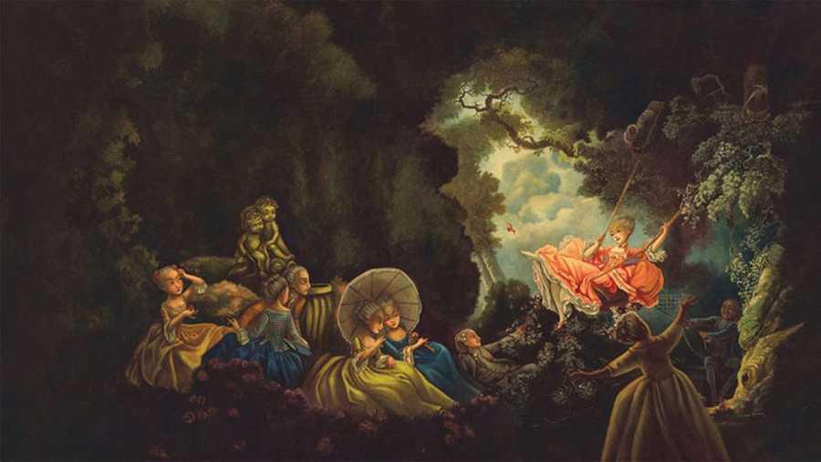 Recreación de Lacombe del famoso cuadro El columpio, de Jean Honoré Fragonard (1732-1806)