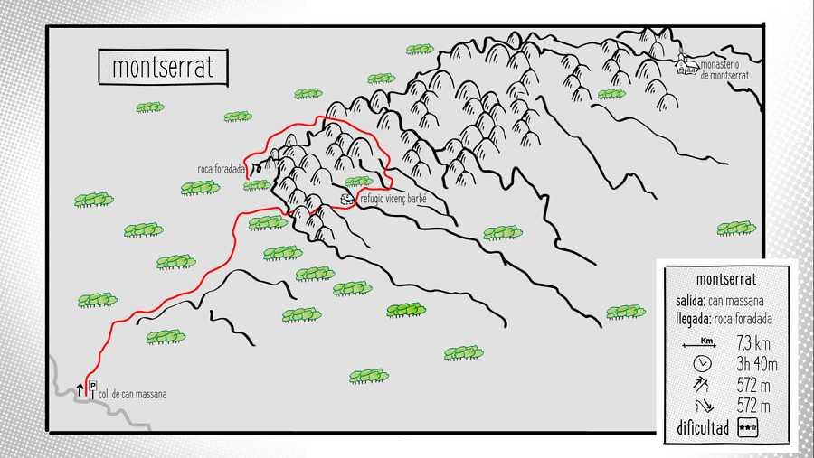 Mapa La sierra de Montserrat