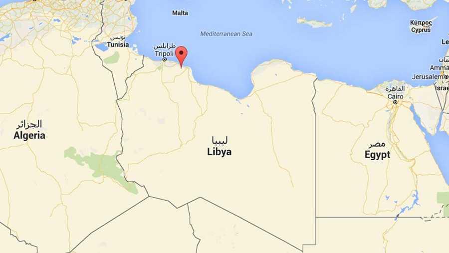 Localización de la ciudad de Zliten, en Libia (Google Maps)