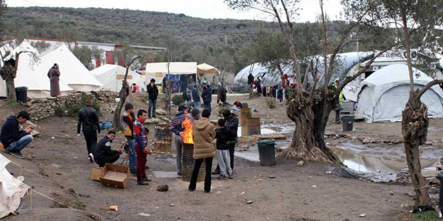 Vista general de la colina afgana en el campo de refugiados de Moria, en Lesbos.