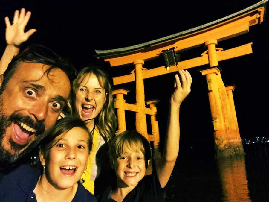La familia en  Miyajima