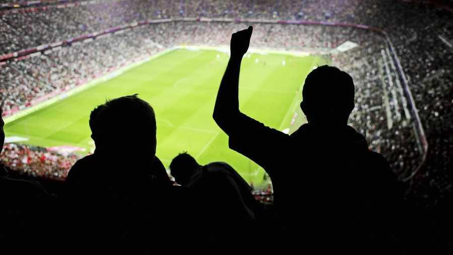 Aficionados en un estadio de fútbol