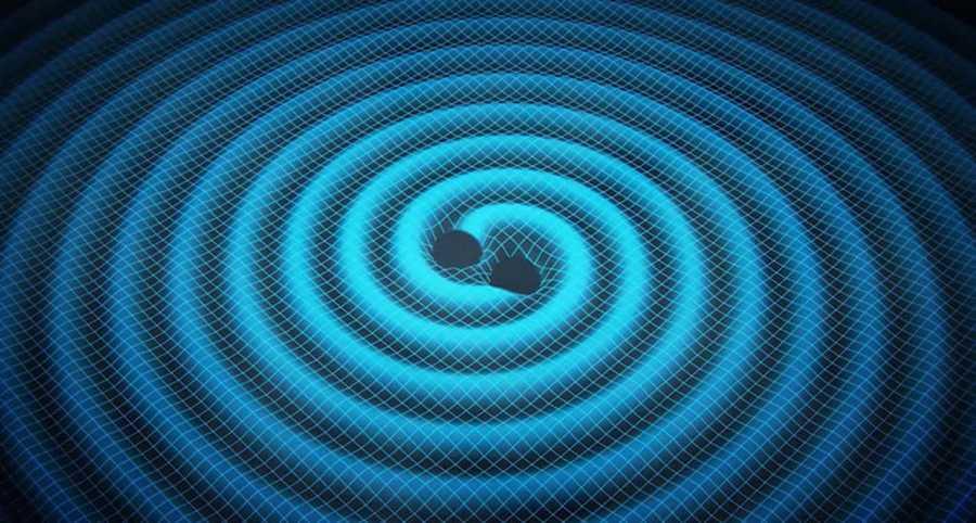 Las ondas gravitacionales son ondulaciones concéntricas que encogen y estiran la 'tela' del espacio-tiempo.